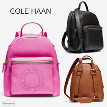 Cole Haan Casual Style 3WAY Plain Leather Elegant Style Logo Backpacks