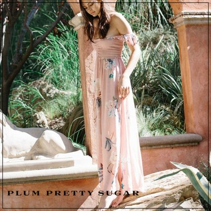 Flower Patterns Casual Style Maxi Flared Long Party Style