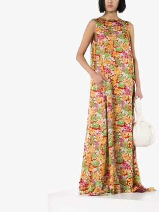 Flower Patterns Casual Style Maxi Sleeveless Long