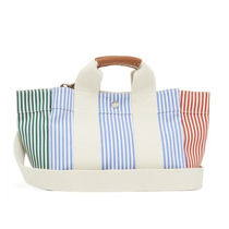 RUE DE VERNEUIL Stripes Casual Style Canvas 2WAY Leather Office Style