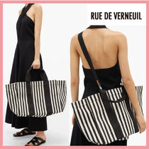 RUE DE VERNEUIL Stripes Casual Style Canvas 2WAY Office Style Crossbody