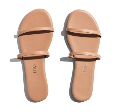Rubber Sole Casual Style Suede Plain Logo Sandals