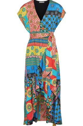 Wrap Dresses Camouflage Tropical Patterns Casual Style