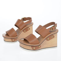 Chloe Open Toe Platform Rubber Sole Casual Style Plain Leather