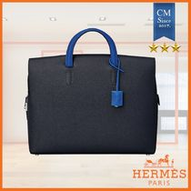 HERMES Calfskin A4 Plain Logo Business & Briefcases