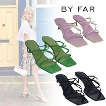 by FAR Open Toe Casual Style Plain Leather Pin Heels Party Style