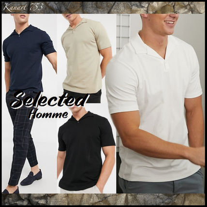 Pullovers Plain Cotton Short Sleeves Polos