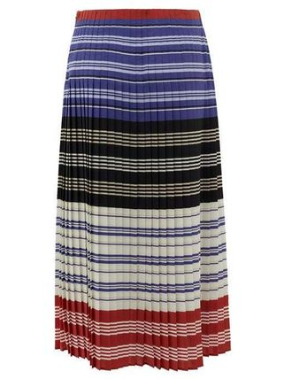 Flared Skirts Stripes Casual Style Silk Pleated Skirts Long