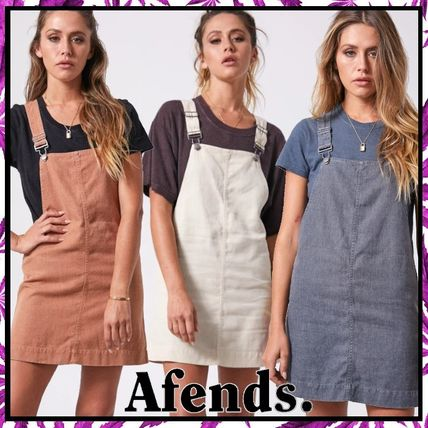Short Dungarees Casual Style A-line Linen Blended Fabrics