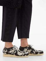 BY WALID Flower Patterns Plain Toe Rubber Sole Casual Style