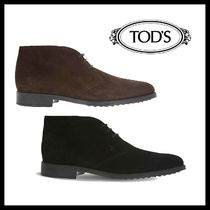 TOD'S Suede Street Style Plain Leather Logo Chukkas Boots