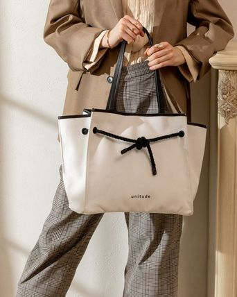 Casual Style A4 Plain Leather Formal Style  Totes