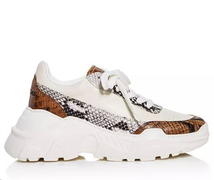 Street Style Python Low-Top Sneakers