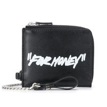 Off-White Chain Plain Leather Long Wallet  Logo Folding Wallets