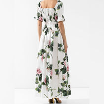 Dolce & Gabbana Flower Patterns Casual Style Flared Long Short Sleeves