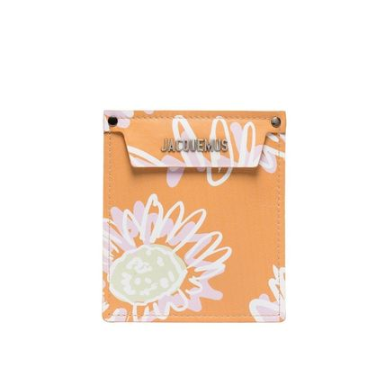 Flower Patterns Street Style Leather Logo Clutches