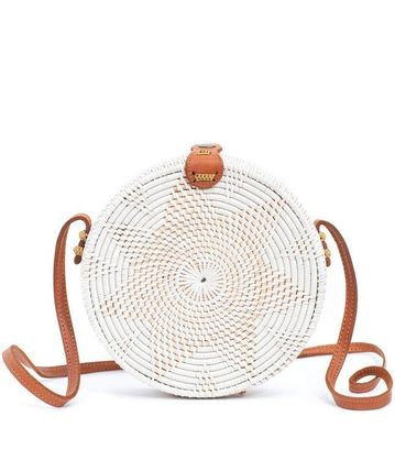 Blended Fabrics Leather Crossbody Straw Bags