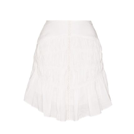 Flared Skirts Short Casual Style Street Style Plain Cotton