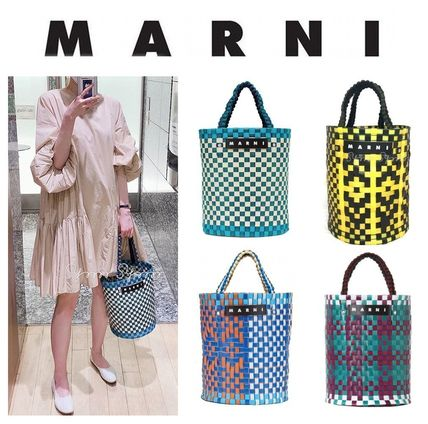 MARNI MARNI MARKET Stripes Other Plaid Patterns Handmade PVC Clothing Logo