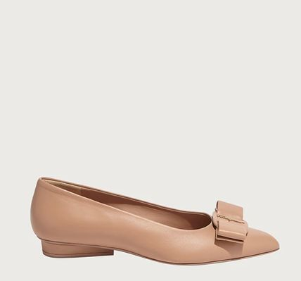 Salvatore Ferragamo Casual Style Plain Leather Block Heels Office Style