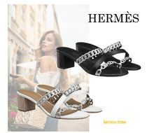 HERMES Open Toe Plain Leather Block Heels Elegant Style