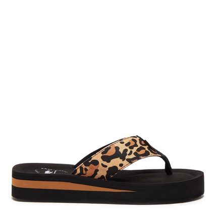 Leopard Patterns Open Toe Platform Casual Style Street Style