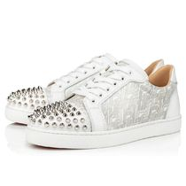 Christian Louboutin Plain Toe Rubber Sole Studded Plain Leather Low-Top Sneakers