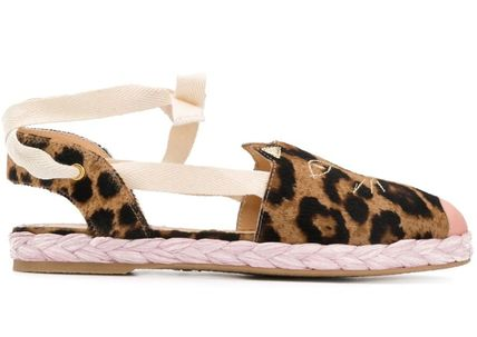 Leopard Patterns Rubber Sole Casual Style Fur Leather
