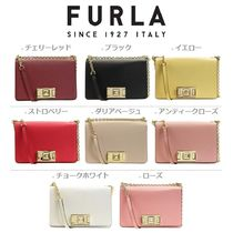 FURLA MIMI Casual Style Vanity Bags Chain Plain Leather Party Style