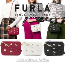 FURLA BRAVA Casual Style Chain Plain Leather Party Style Office Style