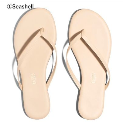 TKEES Rubber Sole Casual Style Plain Leather Flip Flops Logo