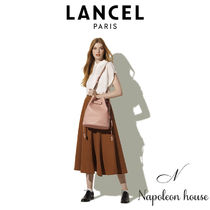 LANCEL Casual Style Chain Plain Leather Purses Office Style Co-ord