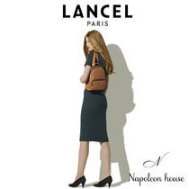 LANCEL Casual Style Plain Leather Bridal Logo Icy Color Backpacks
