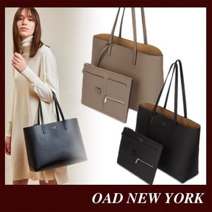 Casual Style Suede Bag in Bag A4 Plain Leather Office Style