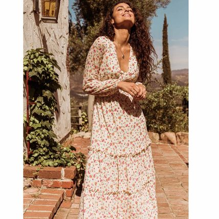 Flower Patterns Casual Style Maxi A-line V-Neck Long Sleeves