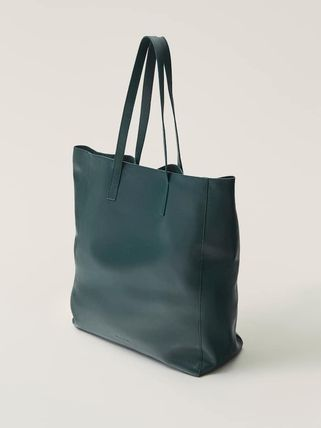 Casual Style A4 2WAY Plain Leather Office Style Totes