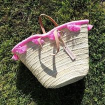 French Baskets Tassel Plain Straw Bags