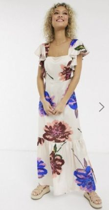 Flower Patterns Maxi Long Short Sleeves Elegant Style