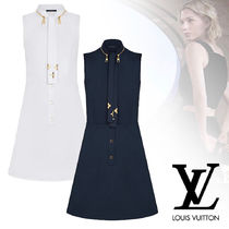 Louis Vuitton Short Flower Patterns Sleeveless Plain Cotton Dresses