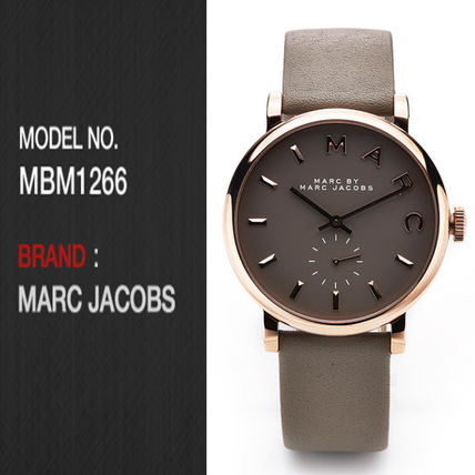 Marc by Marc Jacobs Unisex Leather Round Quartz Watches Office Style