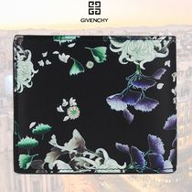 GIVENCHY Flower Patterns Leather Folding Wallet Logo Folding Wallets
