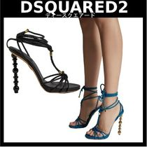 D SQUARED2 Casual Style Leather Elegant Style Heeled Sandals