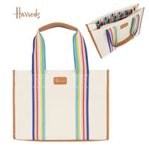Harrods Stripes Casual Style A4 Elegant Style Logo Totes