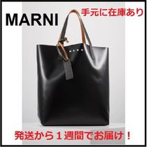 MARNI Casual Style Unisex A4 Bi-color Office Style Totes