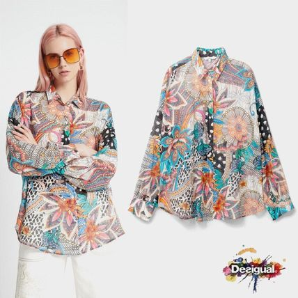 Flower Patterns Casual Style Long Sleeves Cotton Medium