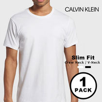 Calvin Klein CK CALVIN KLEIN V-Neck U-Neck Plain Cotton Short Sleeves V-Neck T-Shirts