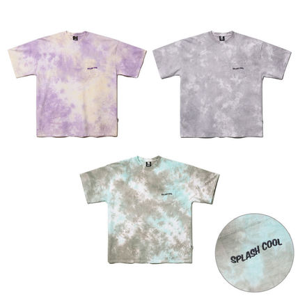 Crew Neck Unisex Street Style Tie-dye U-Neck Cotton Medium