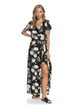 ROXY Wrap Dresses Flower Patterns Casual Style Maxi Long