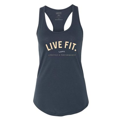 Live Fit Street Style Cotton Medium Logo Tanks & Camisoles