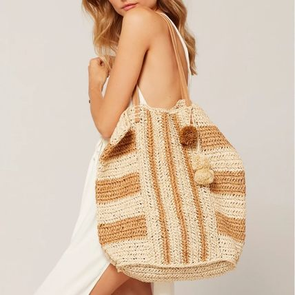 Stripes A4 Leather Straw Bags